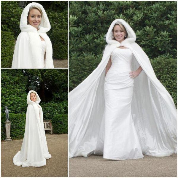 Winter Wedding Fur Cape with Dress