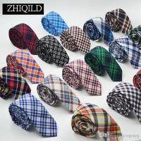 Cotton Neckties Stripe Neck Tie Grid Necktie 145*5.5cm For