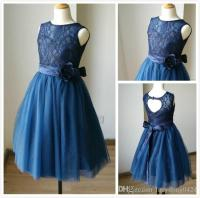 Navy Blue Lace Tulle Sweetheart Tulle Keyhole Flower Girl ...
