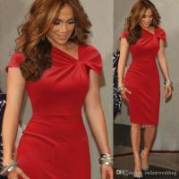 Knee Length Women Red Cocktail Dresses Cap Sleeves Sheath ...