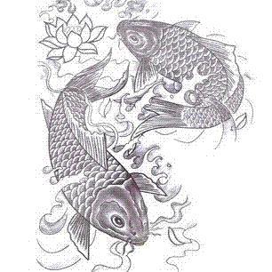 Large Big Fish Designs Temporary Tattoo Stickers