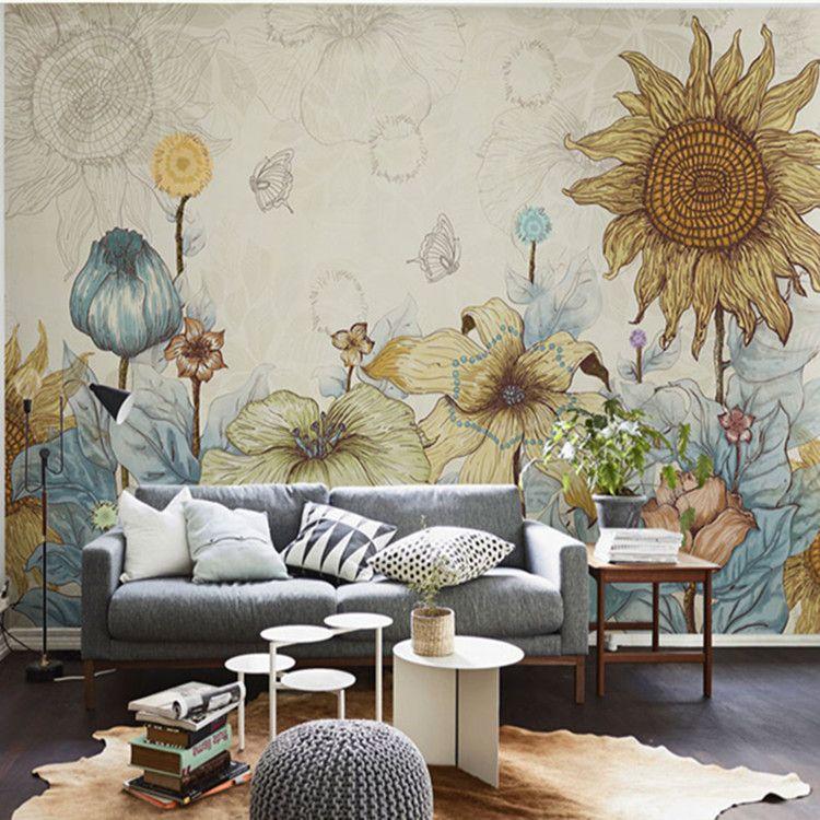 Pinterest Girls Kids Rooms With Wood Wallpaper Sunflower Photo Wallpaper Vintage Wall Murals 3d Custom