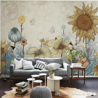 Sunflower Photo Wallpaper Vintage Wall Murals 3D Custom ...