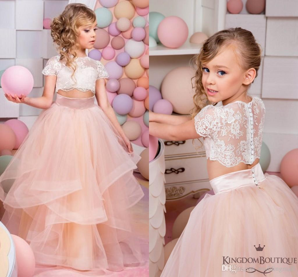2016 Coral Two Pieces Lace Ball Gown Flower Girl Dresses