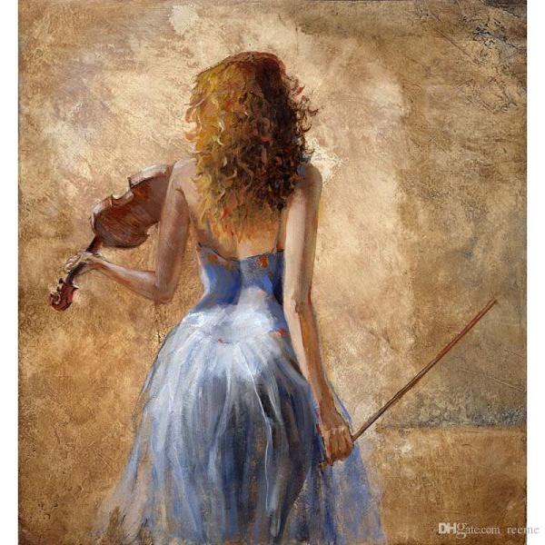 2018 Abstract Figurative Oil Paintings Girl With Violin Modern Art High Quality Hand Painted