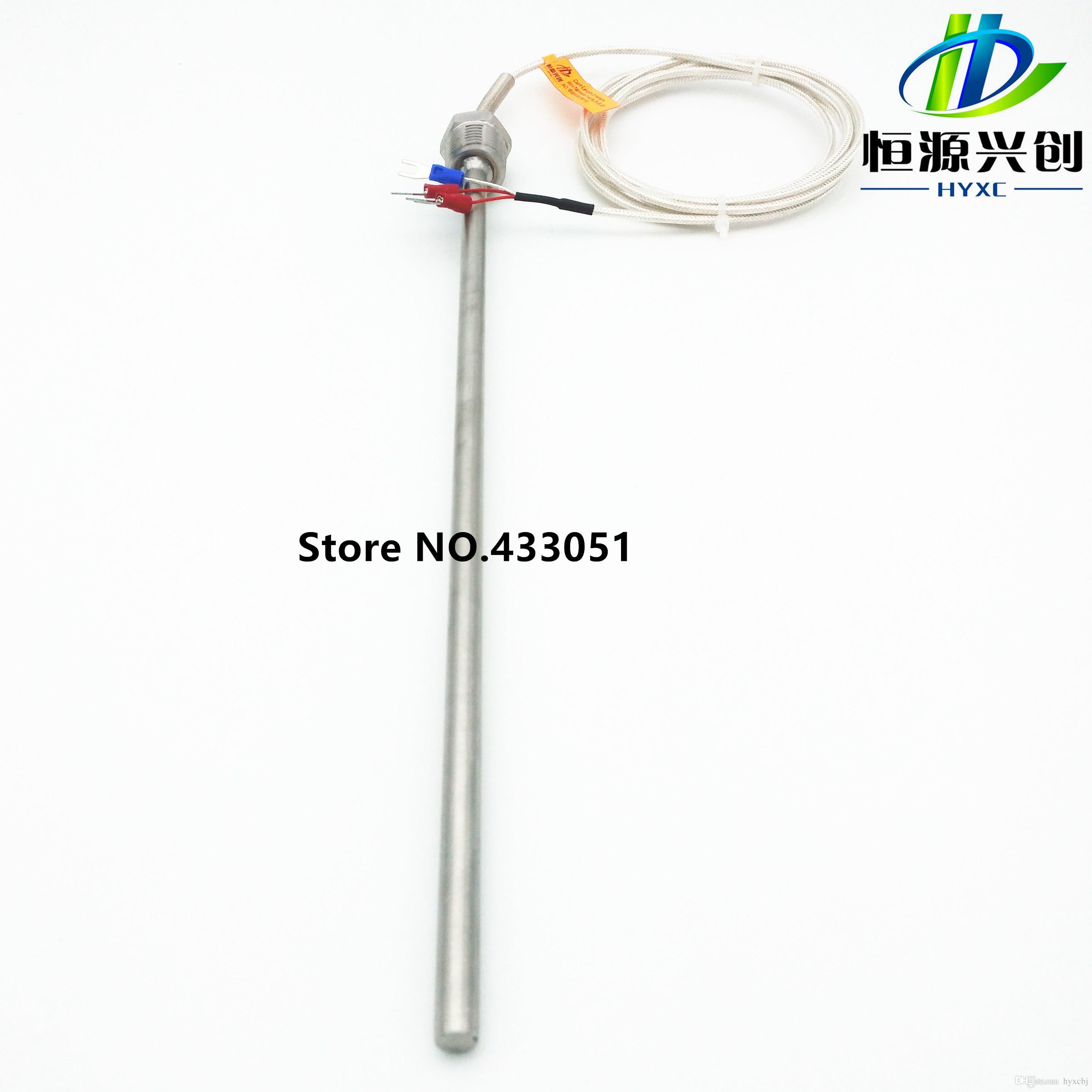 Pt100 Ohm Probe Sensor L 300mm Long Type Pt Npt 1 2 Thread With Lead Wire Rtd Pt100 Pt Npt