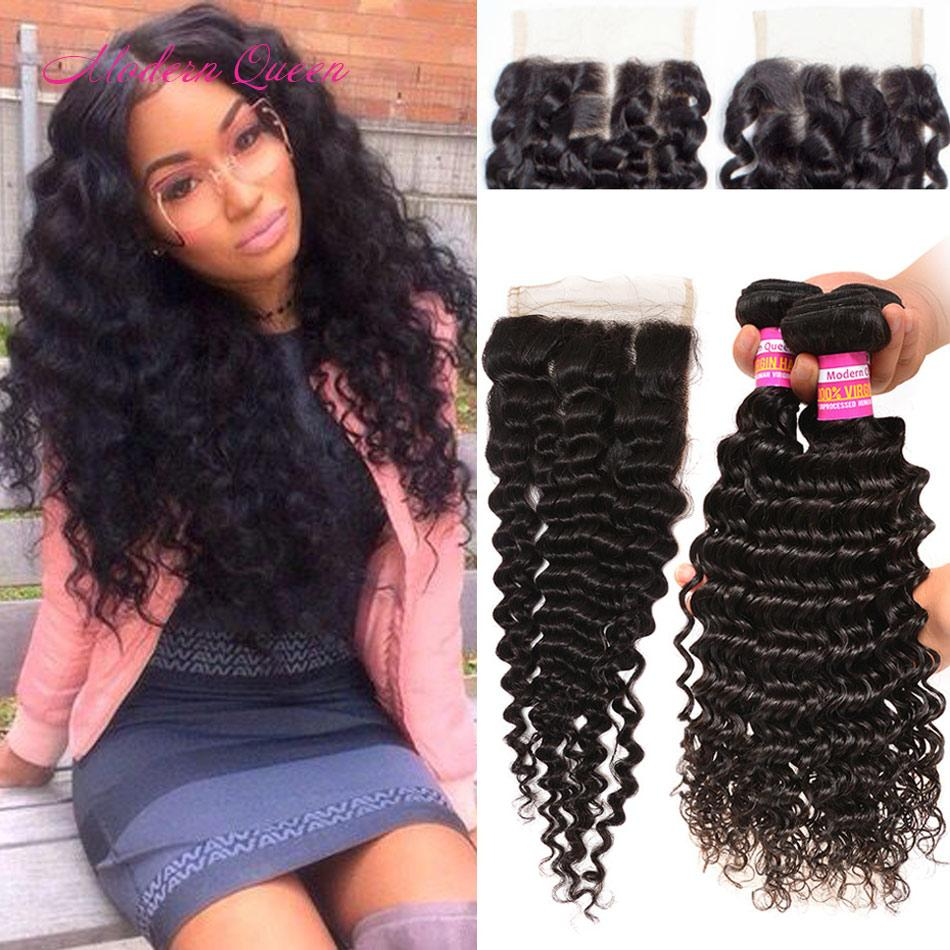 Raw Indian Deep Wave Human Hair Weft 3 Bundles With Lace