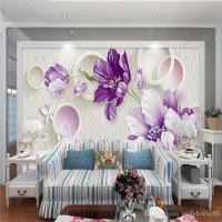 3d Hand Painted Floral Background Wall Modern Simple ...