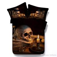 Halloween Black Color 3d Skull Printed Bedding Sets Twin