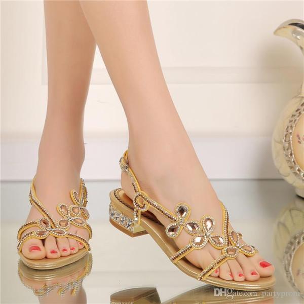 Heel Rhinestone Sandals 2016 Ladies Summer Shoes