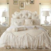 Light White Jacquard Silk Princess Bedding Set Silk Lace ...