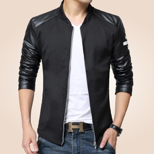 Bomber Jacket Men Patchwork Faux Leather Sleeve