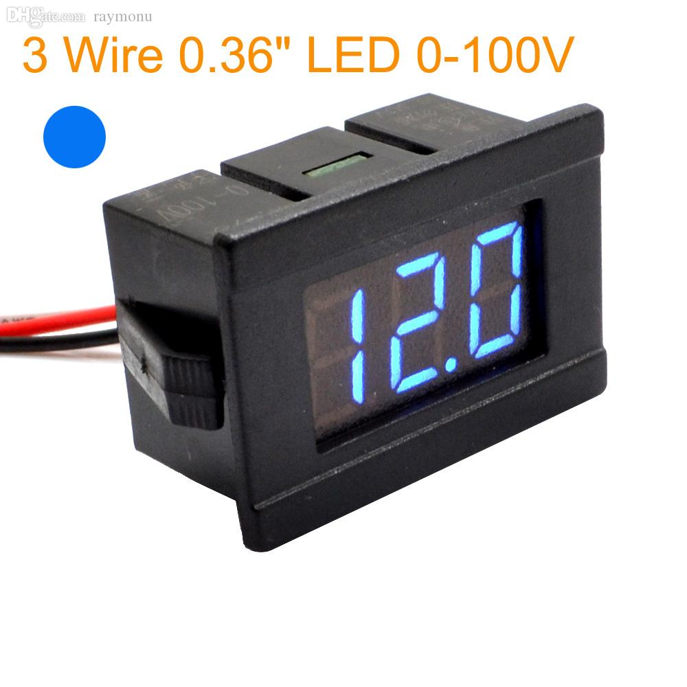 hight resolution of wholesale 1pc new 2 wire 0 36 blue led digital dc voltmeter voltage meter monitor tester for dc 4 5v 120v car free shipping 10000751