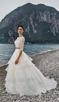 2017 Two Piece Beach Wedding Dresses Cheap Lace Top Tulle ...