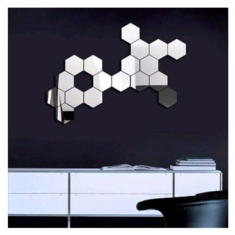d modern mirror geometric hexagon acrylic wall sticker art diy