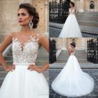 Sheer Lace Top Wedding Dress