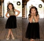 Black Gold Sequins Tulle Flower Girls Dresses Weddings