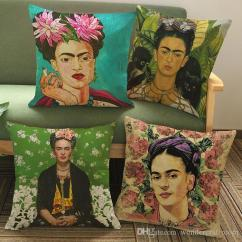 Green Patio Chair Covers High Heel Chairs 6 Styles Frida Kahlo Self Portrait Art Cushion Colour Painting Flowers Leaves ...