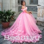 Arabic Pink Princess Ball Gown Wedding Dresses Hand