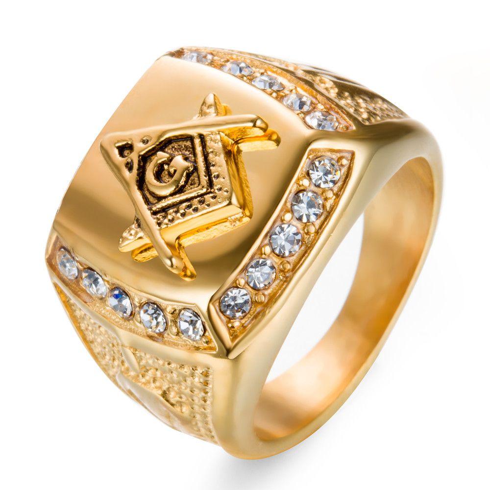 2018 Stainless Steel Man Ring Diamond Gold Masonic Ring Ag