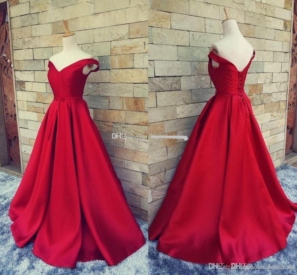 2017 Simple Dark Red Prom Dresses Long Formal Pageant Gowns With Belt Sexy V Neck Open Back