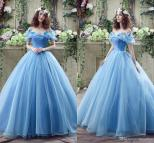 Blue Princess Ball Gown Wedding Dresses