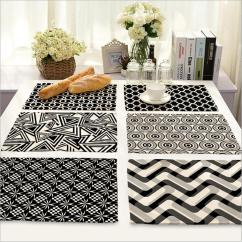 Black And White Kitchen Accessories Gerber Faucet 2019 Wholesale Home Decor Stripe Placemat Linen Fabric Table Mat Dishware Coasters For Wedding Party Decoration From Goutour