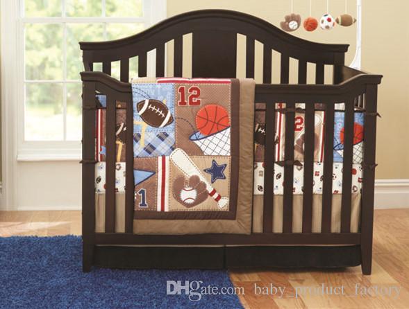 baby cot bedding set newborn cartoon sports crib bedding bumper duvet bed cover bed skirt full kids bedding sets boys bedding twin sets from