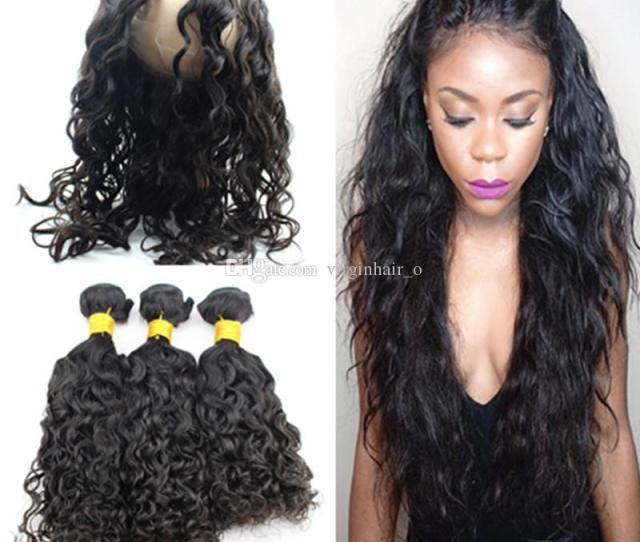 9a Water Wave 360 Pre Plucked Lace Frontal With Bundles Wet And Wavy Brazilian Virgin Human Hair With Full Lace Band Frontal Closure Remy Curly Hair Weave