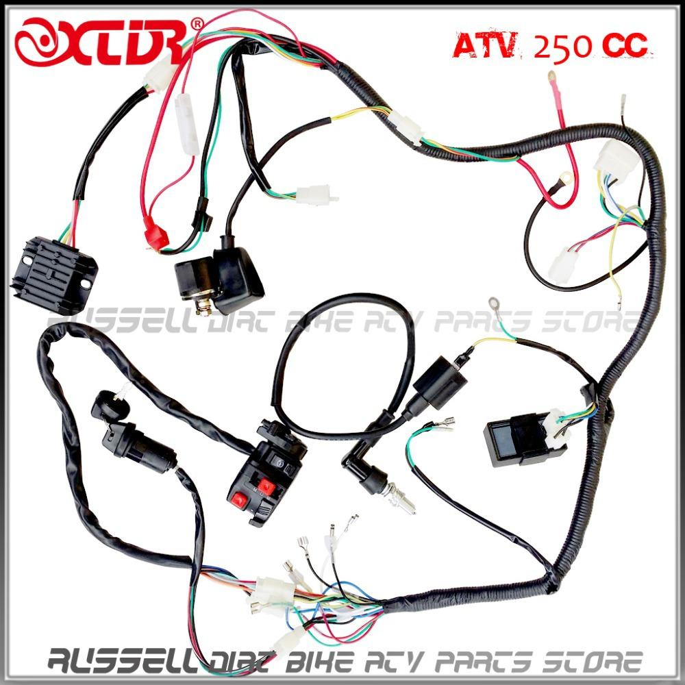 medium resolution of complete electrics atv quad four wheeler 200cc 250cc ignition coil cdi switch key rectifier harness
