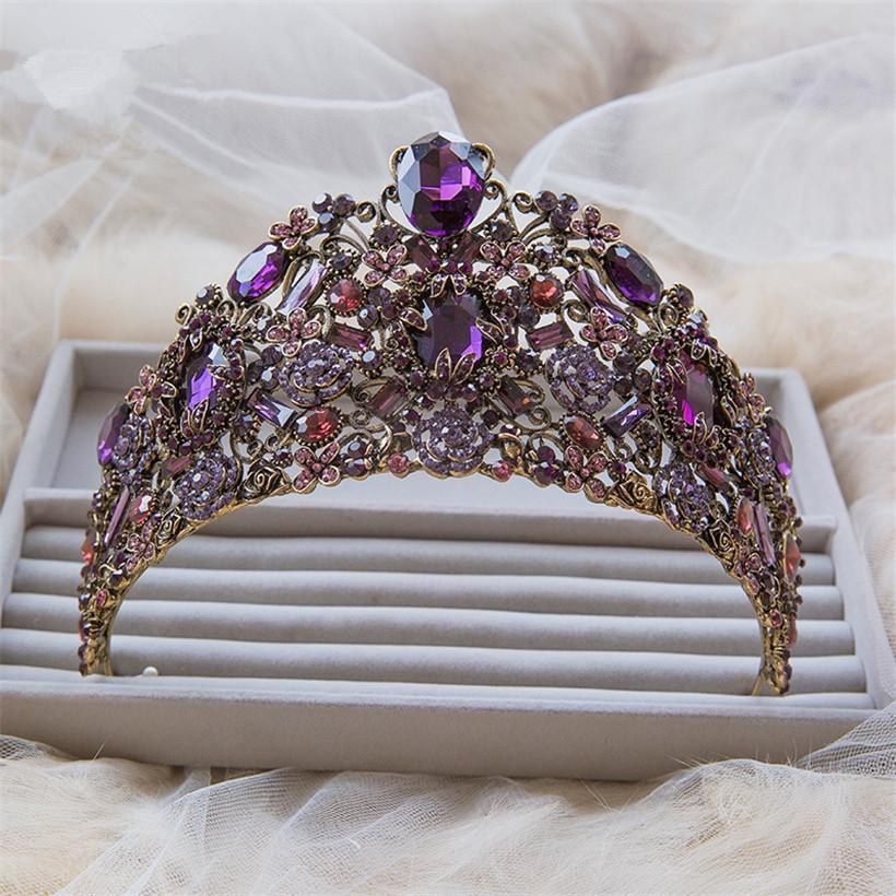 Vintage Wedding Bridal Women Purple Crown Tall Pageant