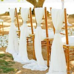 Custom Banquet Chair Covers Spandex Nz 2019 Flowy White Ivory Chiffon Wedding Sashes Bows For Diy Party Decorations With Clasps From