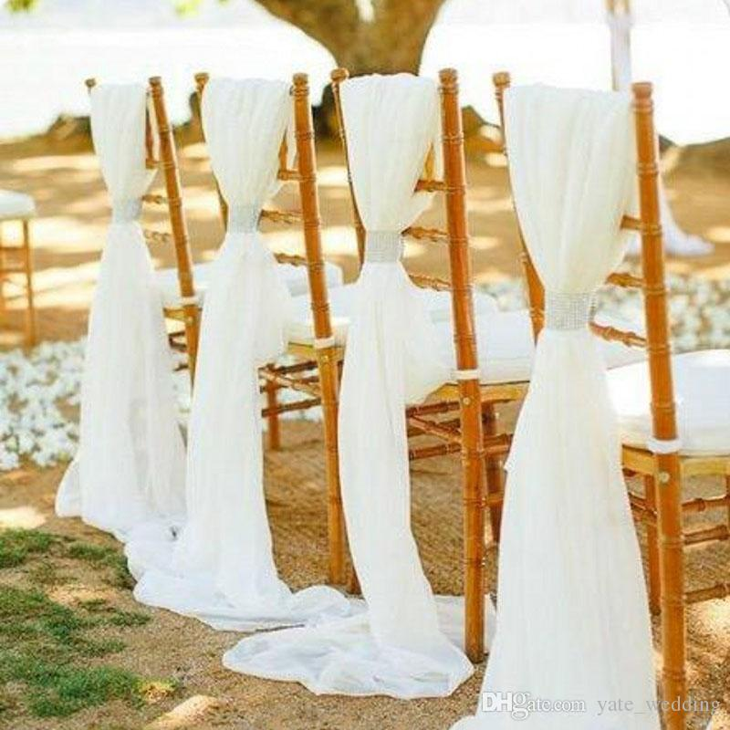 chair cover decorations for wedding walmart table and chairs set 2019 flowy white ivory chiffon sashes bows custom covers diy party banquet with clasps from
