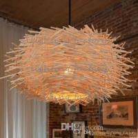 Creative Nest Light Rattan Woven Pendant Light Retro ...