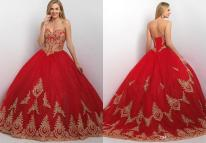Red and Gold Ball Gown Dresses