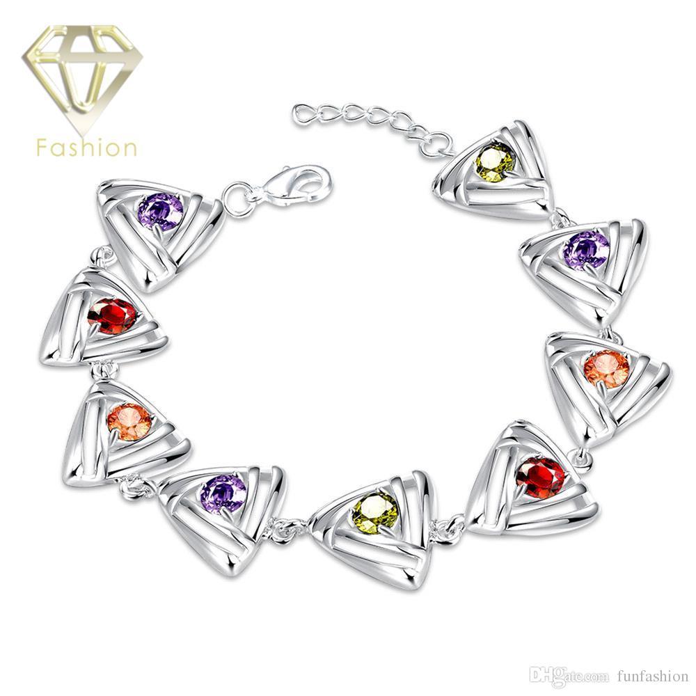 CZ Diamond Tennis Bracelet New Design Silver Plated Multi