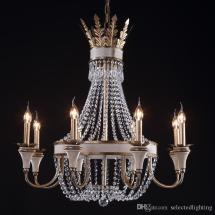 Vintage Retro Crystal Chandelier Lamps Wrought Iron Large