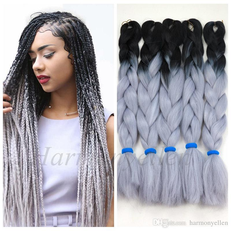 Stock Two Tone Color Synthetic Yaki Braiding Hair2 Tone