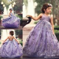 Pretty Lavender Flower Girl Dresses V Neck Lace Appliques