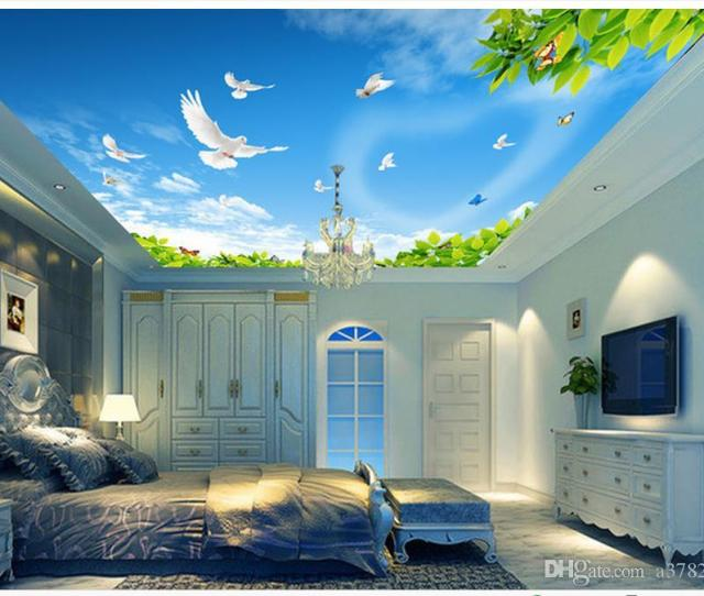 D Wallpaper Custom D Ceiling Murals Wallpaper Mural Blue Sky White Clouds Green Leaves White Pigeons Ceiling Roof Background Wall Murals Wallpapers