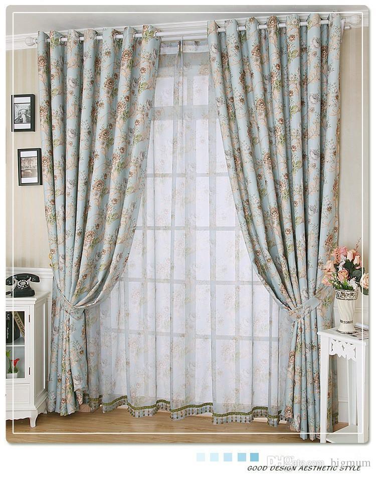 acheter rustique fenetre rideaux pour salon chambre floral blackout rideau fenetre traitement rideaux decor a la maison bleu livraison gratuite de