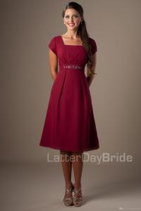 Dark Red Short Modest Bridesmaid Dresses With Short ...