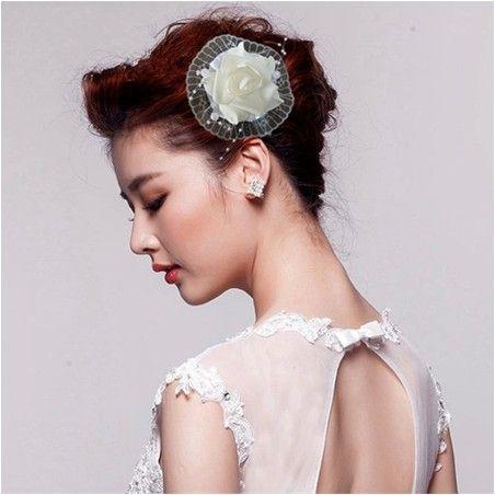 online cheap bridal hair accessories silk foam white rose hair clips wedding party head