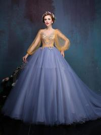 Long Sleeves Debutante Dresses Applique Beaded Ball Gown ...