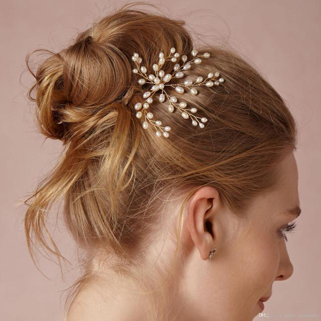 cheap pearl bridal hair pin real photo no fading color hair accessories flower pearl hair pins for weddings vintage bridal hair combs