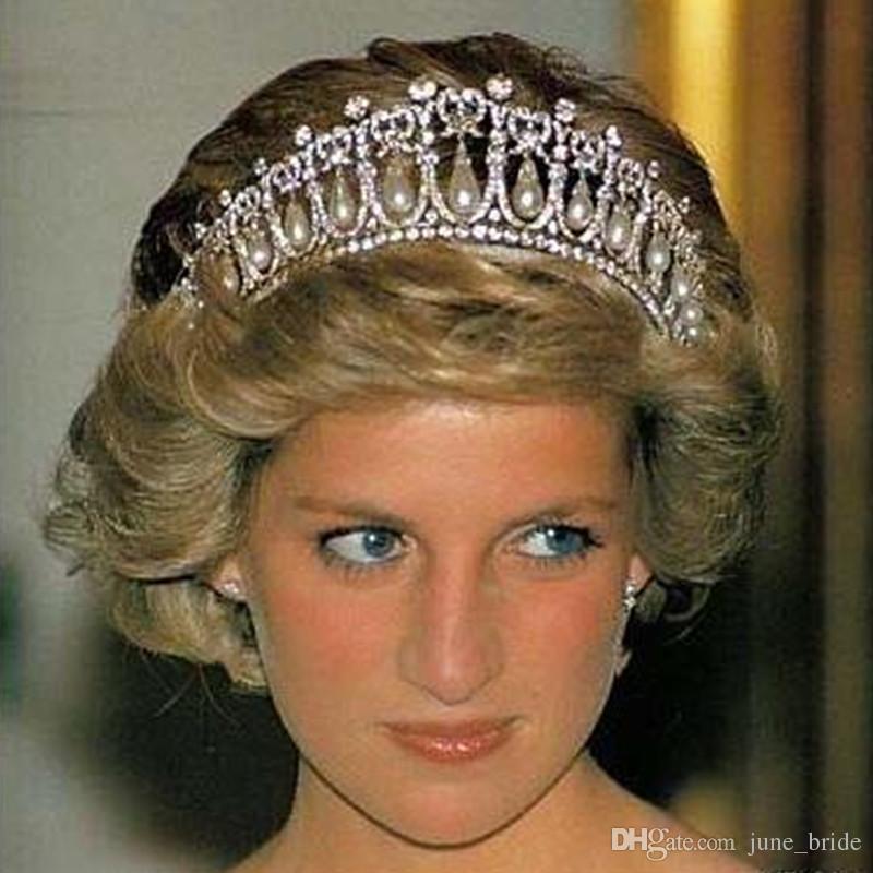 Princess Diana Same Abs Pearl Crown Crystal Tiara Bridal