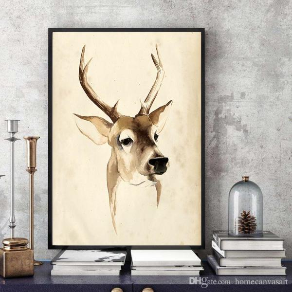 2019 Modern Simple Oil Painting Retro Deer Head Art Print Poster Canvas Wall Home
