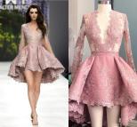 High Blush Pink Short Cocktail Dresses Sheer Long