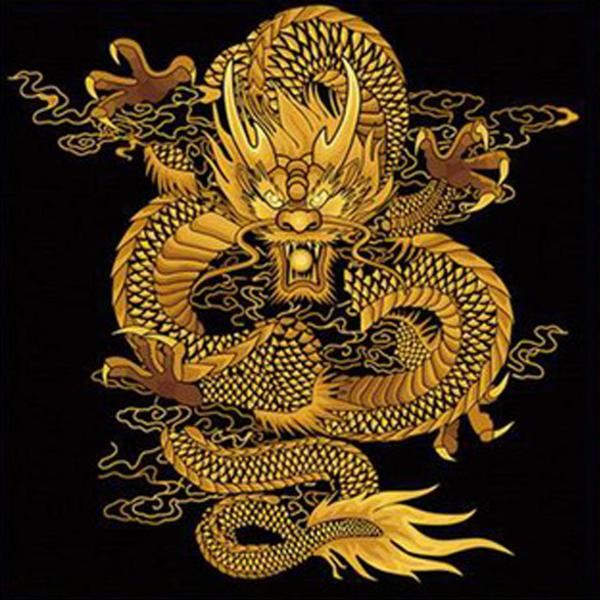 Golden Chinese Dragon Painting