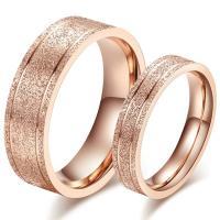 Korean Stylish Sandblasting Craft Rose Gold Couple Rings ...